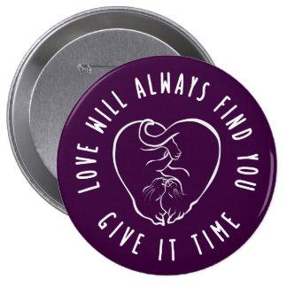 Kitten CUDDLING Heart Button, motivation quote 10 Cm Round Badge