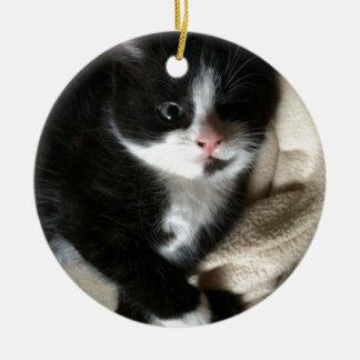Kitten decal round ceramic decoration