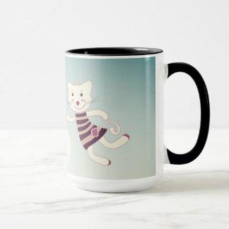 Kitten designers Mug with flying Cat