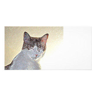 Kitten eyes closed sparkle photo card template