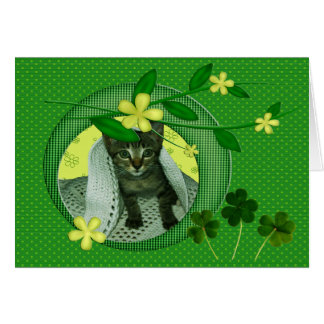 Kitten, Flowers, Shamrocks & Green Polka Dots Card