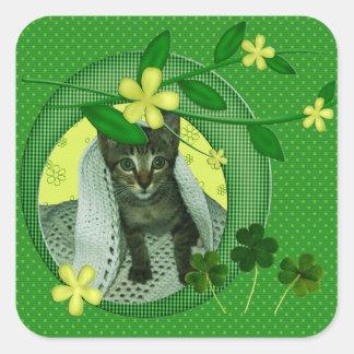 Kitten, Flowers, Shamrocks & Green Polka Dots Square Sticker