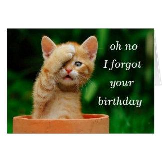 kitten forgot birthday greeting card