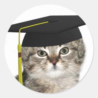Kitten graduates classic round sticker