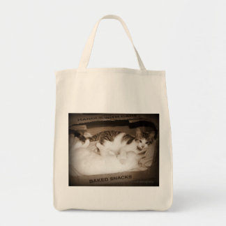 """Kitten Grocery Tote """"handle with care baked snacks"""