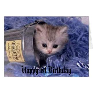 kitten Happy 1st Birthday Greeting Card