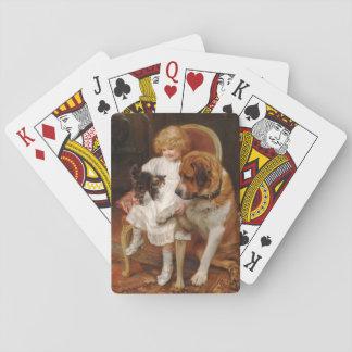 Kitten Hissing at Saint Bernard, Playing Cards