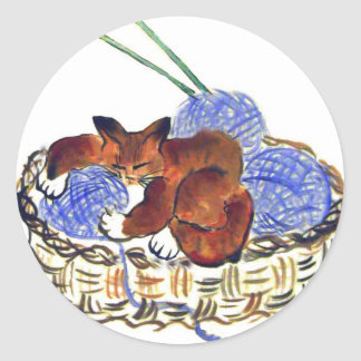 Kitten Hugs a Yarn Pillow Classic Round Sticker