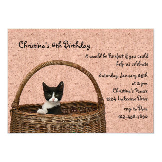 "Kitten in a Basket Invitation 5"" X 7"" Invitation Card"