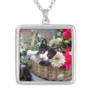 Kitten in a Basket Silver Plated Necklace