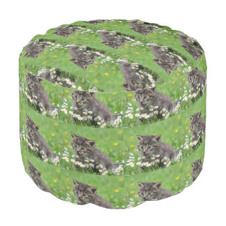 Kitten in a flower Grade A Woven Cotton Round Pouf