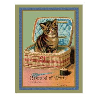 Kitten in a Sewing Basket Postcard