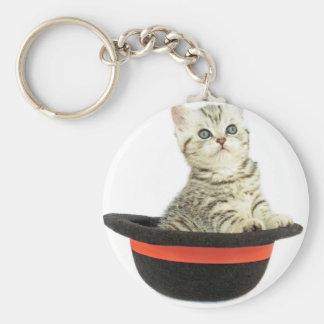 Kitten in black hat basic round button key ring