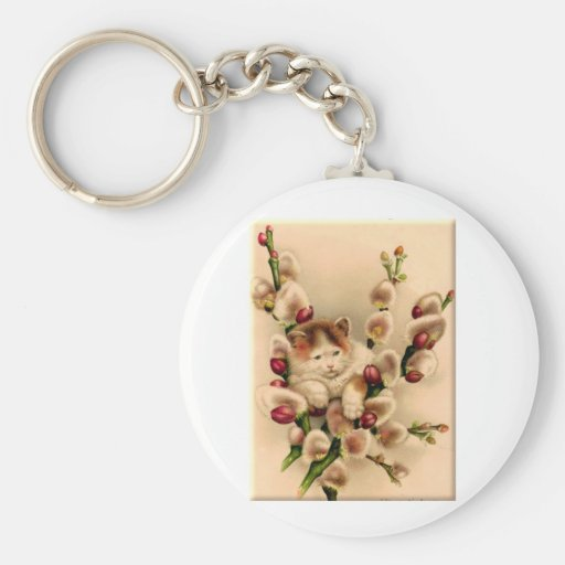 Kitten In Pussy Willows Key Chains