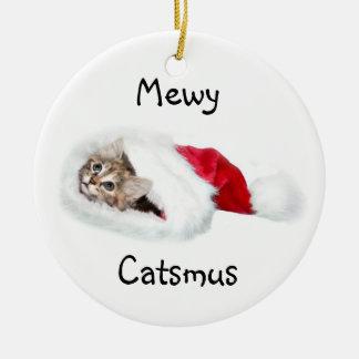 Kitten in Santa Hat Ceramic Ornament