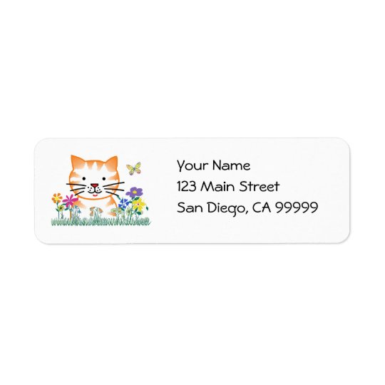 Kitten in the Garden Return Address Label