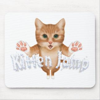 Kitten Jump Title Mouse Pad