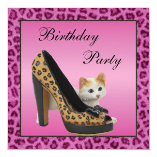"Kitten & Leopard Shoe Pink Fur Texture Birthday 5.25"" Square Invitation Card"