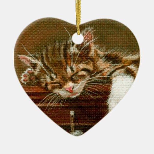 Kitten on mantle Ornament