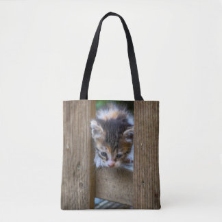 Kitten On The Fence Tote Bag