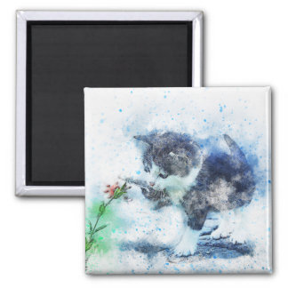 Kitten Playing with Flower   Abstract   Watercolor Magnet