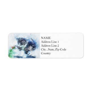Kitten Playing with Flower | Abstract | Watercolor Return Address Label