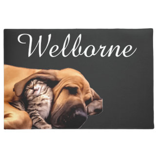 Kitten Puppy Bloodhound Dog Cat Best Friends Love Doormat