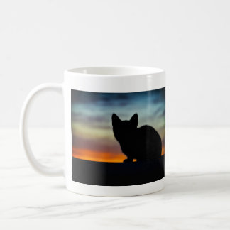Kitten Silhouette, Colorful Sunset Sky Background Coffee Mug