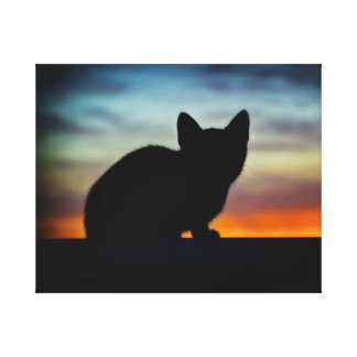 "Kitten Silhouette,Sunset Sky Background 20"" x 16"" Canvas Print"