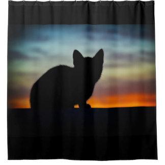 Kitten Silhouette Sunset Sky Shower Curtain