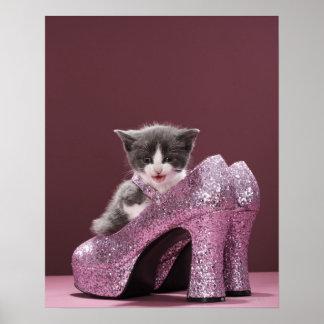 Kitten sitting in glitter shoes poster