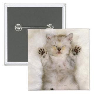 Kitten Sleeping on a White Fluffy Carpet, High 15 Cm Square Badge