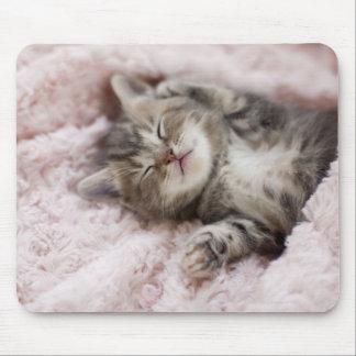Kitten Sleeping on Towel Mouse Pad