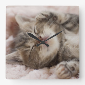 Kitten Sleeping On Towel Square Wall Clock