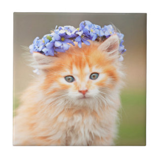 Kitten Wearing a Garland of Purple Flowers Small Square Tile