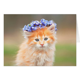 Kitten Wearing a Purple Garland Card