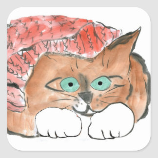 Kitten Wears a Knit Beanie Hat Square Sticker