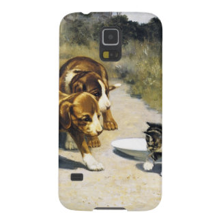 Kitten with 2 puppies vintage painting cases for galaxy s5