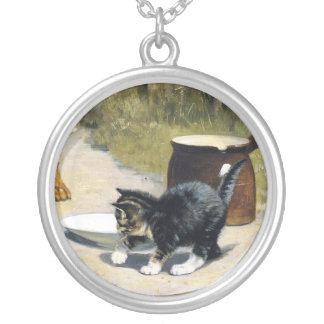 Kitten with 2 puppies vintage painting silver plated necklace