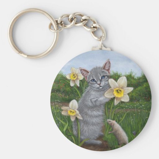 Kitten with Daffodils and Rat Keychain