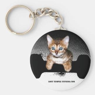 kitten with dumbbell jp BW jpg Keychain