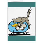 Kitten with his head  in a fishbowl greeting card