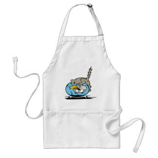 Kitten with his head  in a fishbowl standard apron