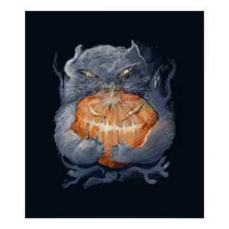 ** kitten with pumpkin ** poster