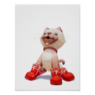Kitten with Red Boots Nursery Print