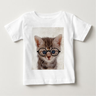 Kitten with Round Glasses Baby T-Shirt