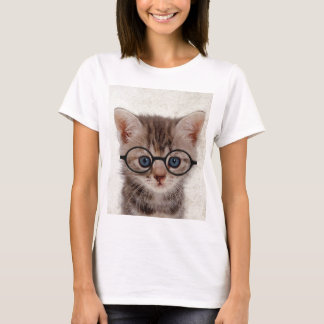 Kitten with Round Glasses T-Shirt