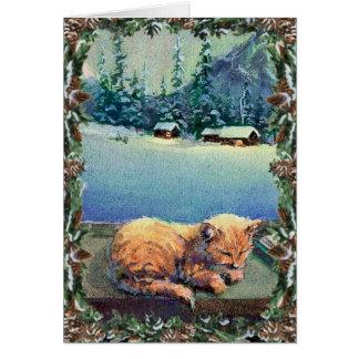 KITTEN & WREATH by SHARON SHARPE Greeting Card