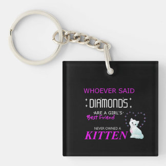 Kittens Are My Bff Double Sided Square Keychain