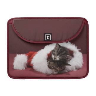 Kittens asleep together in Christmas hat Sleeves For MacBooks